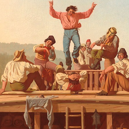 George Caleb Bingham: The Jolly Flatboatmen (detalle, NGA Images)