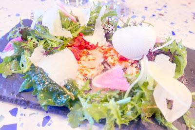 Ataula Portland Dining Month 2016 1st course: Pulpo octopus carpaccio with sun-dried tomato, Parmigiano-Reggiano, pine nuts and pickled cipollini onions