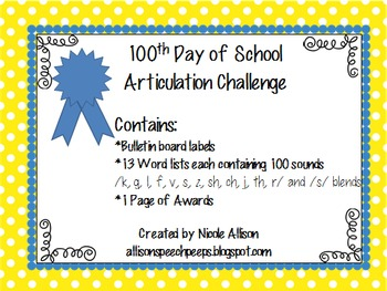 100 Days of School Articulation Challenge