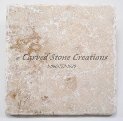 6x6 Crema Cappucino Marble Tumbled Tile