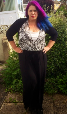 jumpsuit from George at Asda purple and blue hair
