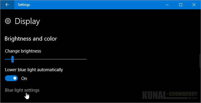 Blue light settings on Windows 10 Creators Update (www.kunal-chowdhury.com)