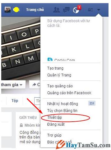 vào thiết lập facebook