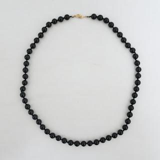 Black Stone & 14K Gold Necklace