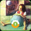 Girl Earth & Moon Wall & Lock icon