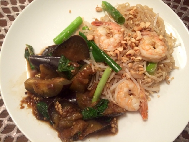 Sassy Wine Belly - Shrimp Pad Thai and Thai Basil Eggplant