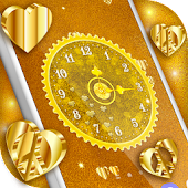 Gold 3D Analog Clock Wallpaper
