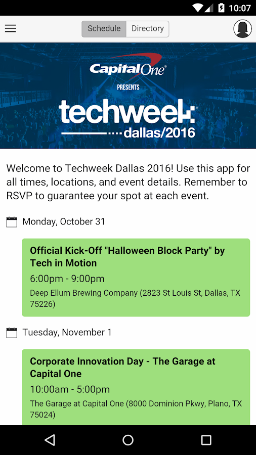 Techweek Dallas 2016- screenshot