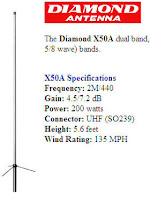 VA3AGV Diamond X50 2meter 70cm Dual Band Antenna