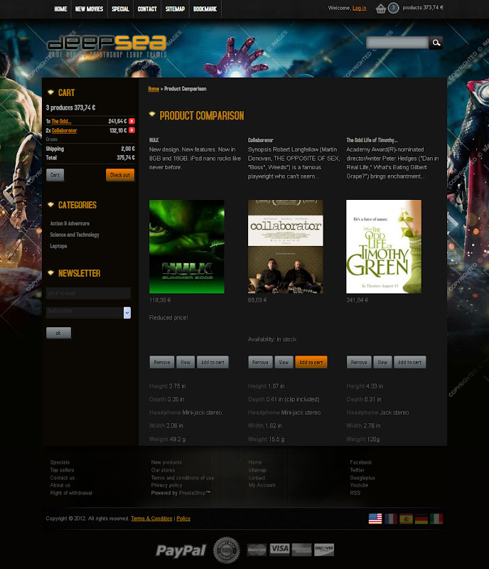 Prestashop Themes for Movie, Game's CD and Book eshop - Deep Sea
