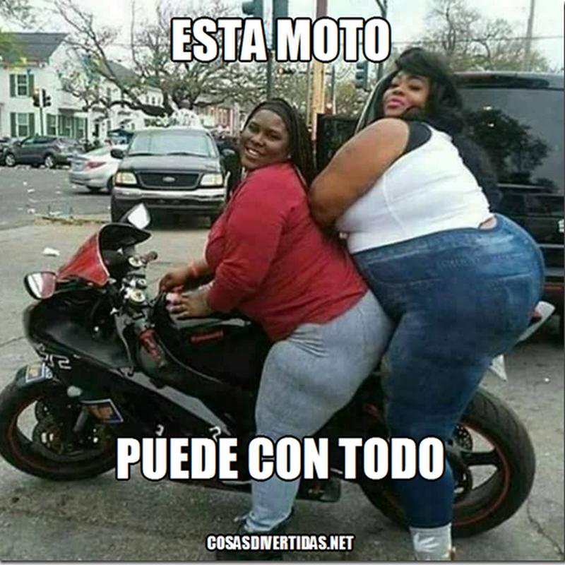 meme humor foto de dos gorditas en una moto