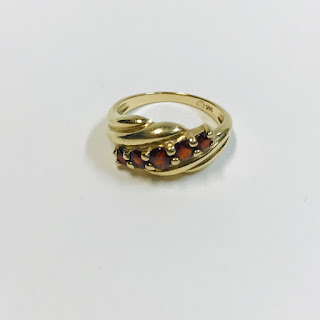 14K Gold and Red Stone Ring