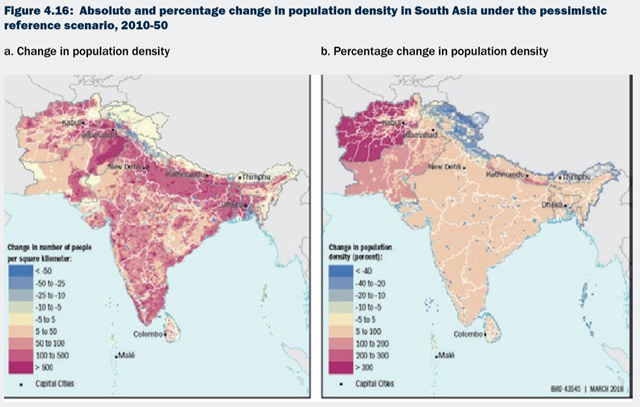 Absolute and percentage change in population density in South Asia under the pessimistic reference scenario, 2010-50. Graphic: World Bank