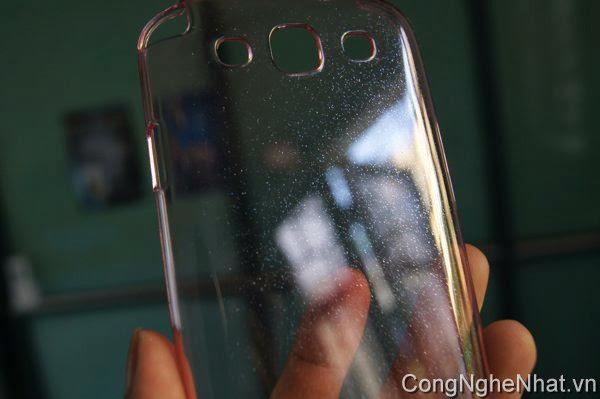 Ốp lưng Galaxy S3 (SC-06D)trong suốt ánh kim tuyến hồng