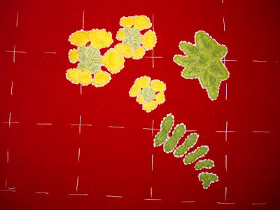 Ruth O'Leary Textile Art: embroidered fern and cowslip on St Cuthbert's Banner
