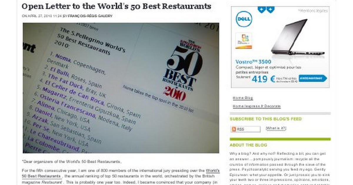 Best Operating System 2020 Open Letter to the World's 50 Best Restaurants   Lexpress Styles