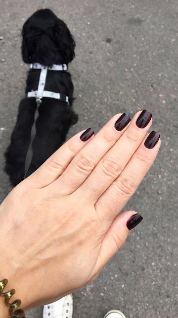 Guerlain 024 Black Cherry Ink Swatch Autumn Burgundy Manicure Review