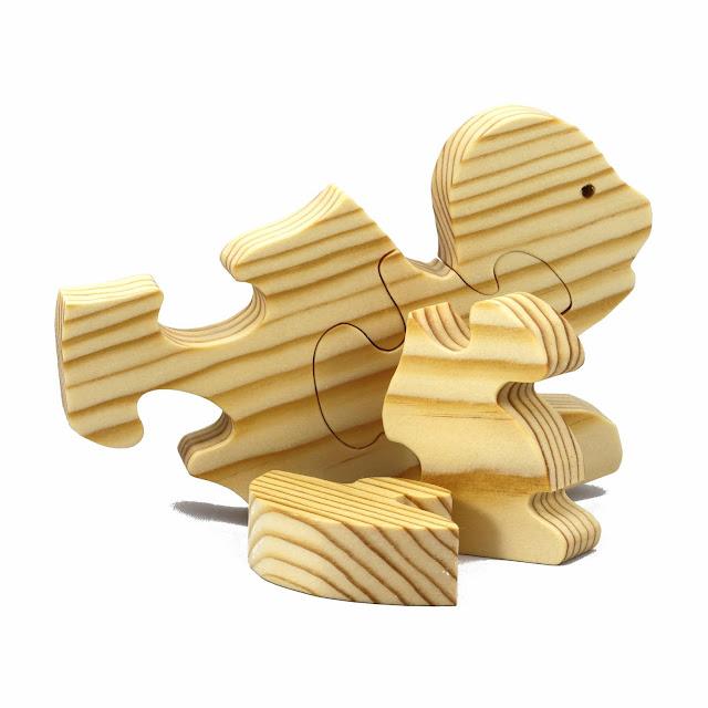 Simple Five Piece Handmade Wood Turtle Puzzle