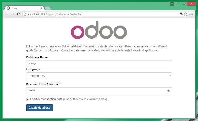 Creando BD de aplicación Odoo