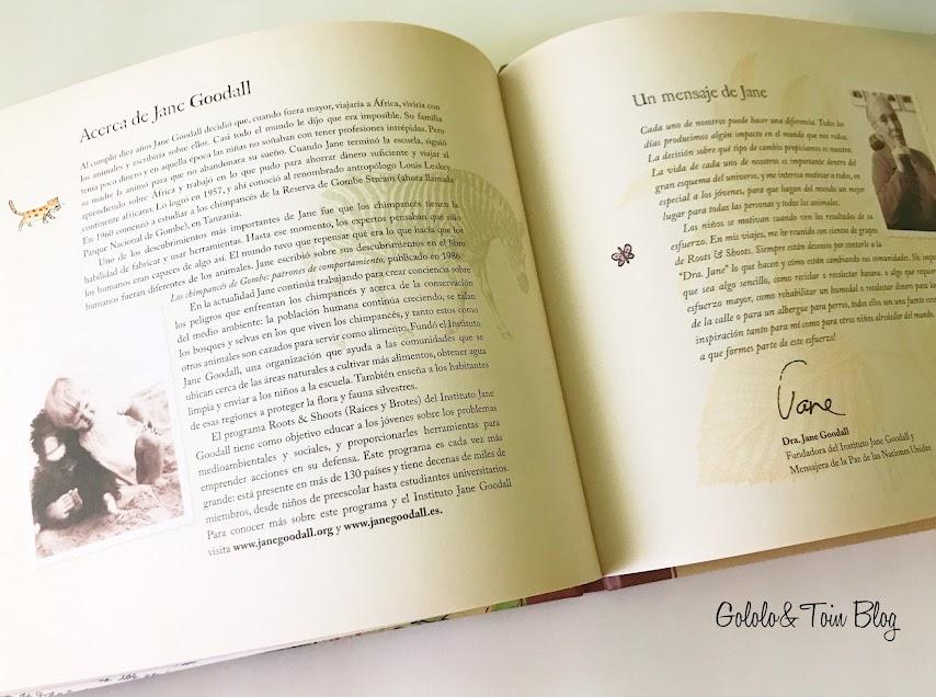 Cuento con biografía de Jane Goodall
