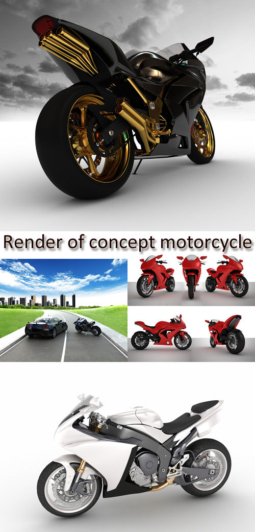Stock Photo: Render of concept motorcycle