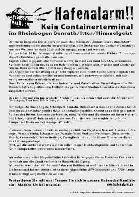 Faksimile: Flugblatt. »Hafenalarm! Kein Containerterminal im Rheinbogen / Benrath / Itter / Himmelgeist…«.