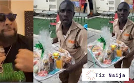 Davido Leaves his Gateman in Shock after giving him a Mouth- watering Breakfast