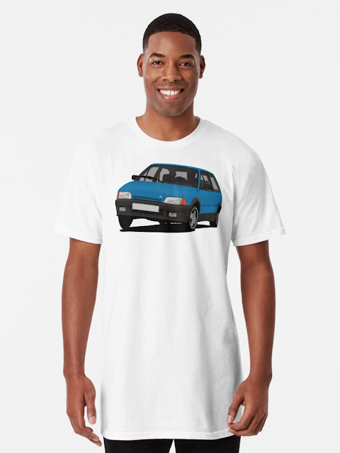Blue Citroën AX GT t-shirts from the 80ies