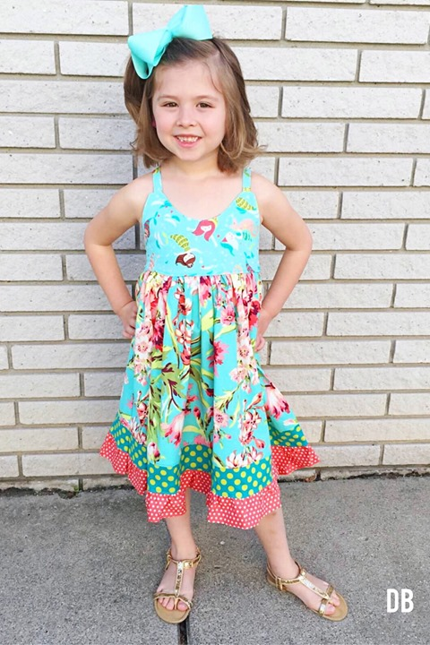 Tropical Mermaid Luau Birthday Dress Handmade by Daydream Believers Designs
