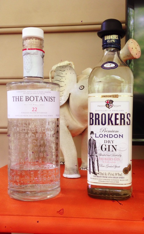 The Botanist gin and Broker's gin