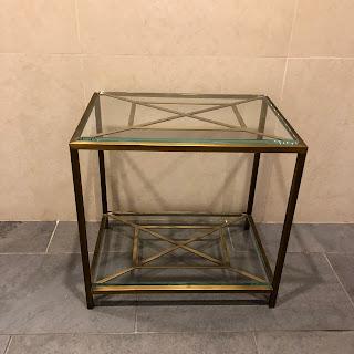 Small Glass & Metal Side Table