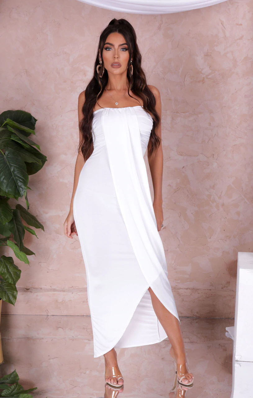 White Strapless Maxi Drape Front Dress - Lydia