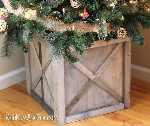 DIY Scrap Wood Crate Christmas Tree Stand - The Kim Six Fix