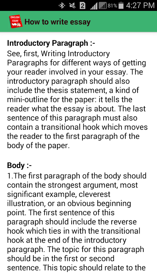 english essays android apps on google play english essays screenshot