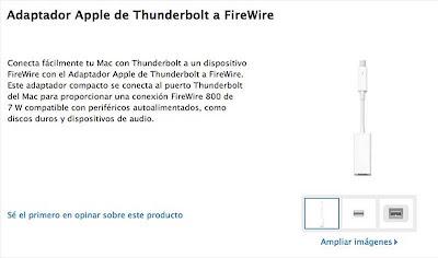 Nuevo adaptador de Thunderbolt a FireWire disponible en la Apple Store