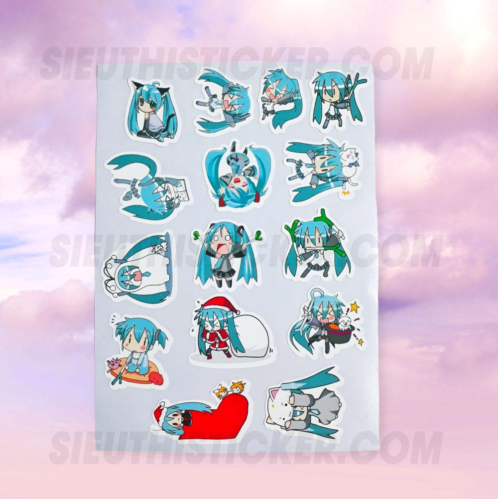 sticker giấy hatsune miku trang trí notebook, tập vở