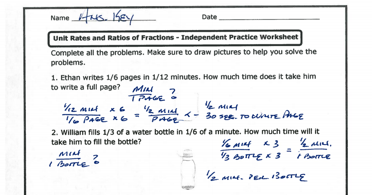 Unit Rates and Ratios of Fractions Independent Practice Worksheet – Unit Rates Worksheet