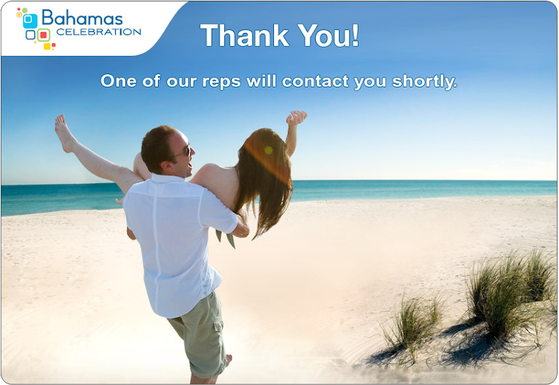 A thank you screen with a guy carrying a girl down a beach