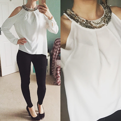 River Island Embellished Cold Shoulder Blouse