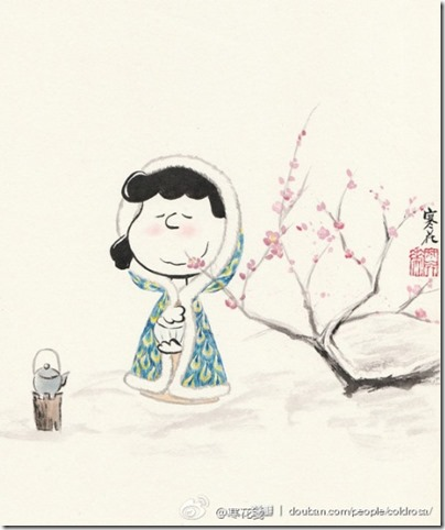 Peanuts X China Chic by froidrosarouge 花生漫畫 中國風 by寒花  Lucy Boiling Tea with Cherry Blossom in Winter