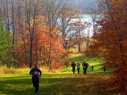 Runners coming up Suicide Hill during the Pumpkin Run