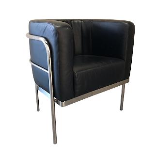 Modern Chrome & Leather Club Chair #2