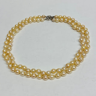 Pearl and 14K White Gold Double Strand Necklace