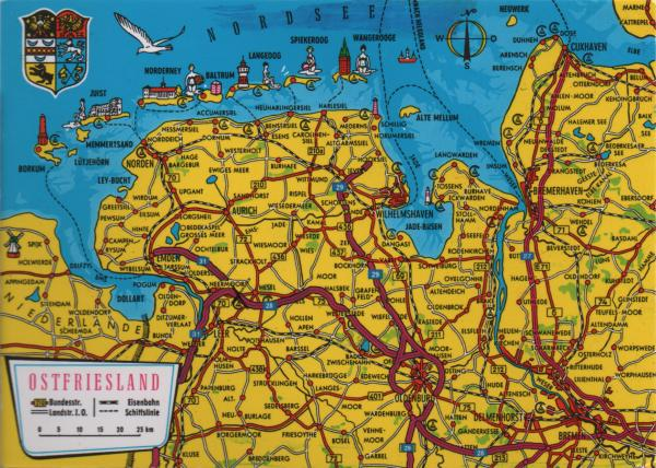 map of north west Germany on the north sea coast