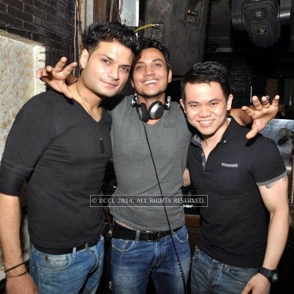 Djs Vikrant, Varun and Felix 2 enjoy during a party at Underground in Kolkata.