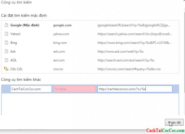 Cách thêm công cụ tìm kiếm tùy chỉnh vào trình duyệt Cốc Cốc