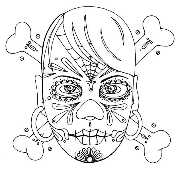 Girly Sugar Skulls Coloring