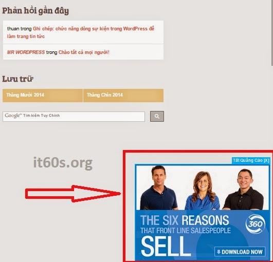 Cách chèn code quảng cáo dưới góc phải màn hình Wordpress 2