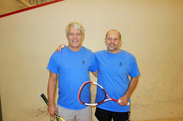 Men 60+ semifinalist Rip Hastings and winner Mark Dickenson