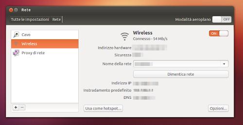 Ubuntu 12.10  - configurazione wireless via tool rete